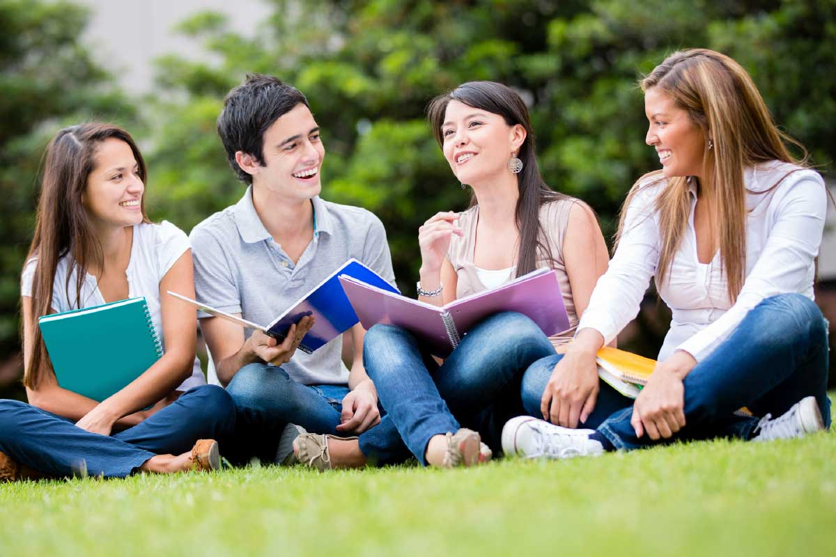A group of students talking.
